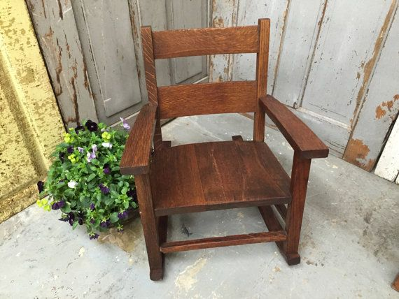 Small Rocking Chair, Mission Oak Furniture, Rocking Chair for Toddlers,  Antique Oak Rocking - Small Rocking Chair, Mission Oak Furniture, Rocking Chair For