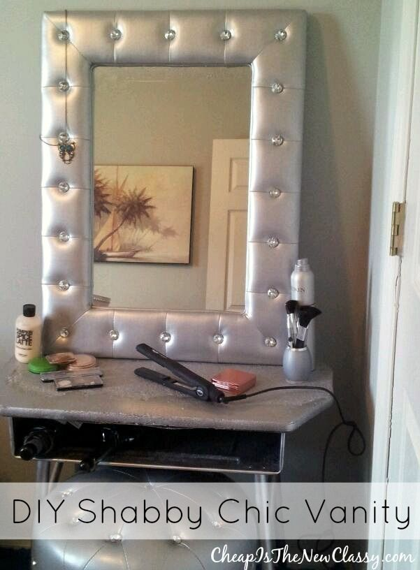 making a vanity mirror. LumiSource Pouf Mirror And Round Ottoman On Cheap Is The New Classy Check Out This Shabby Chic DIY Vanity That Amber Put Together  She