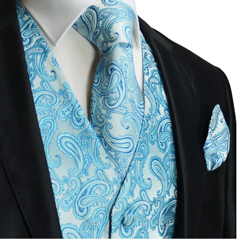 Turquoise Blue Paisley Tuxedo Suit Dress Vest Waistcoat /& Bow tie And Hankie Set