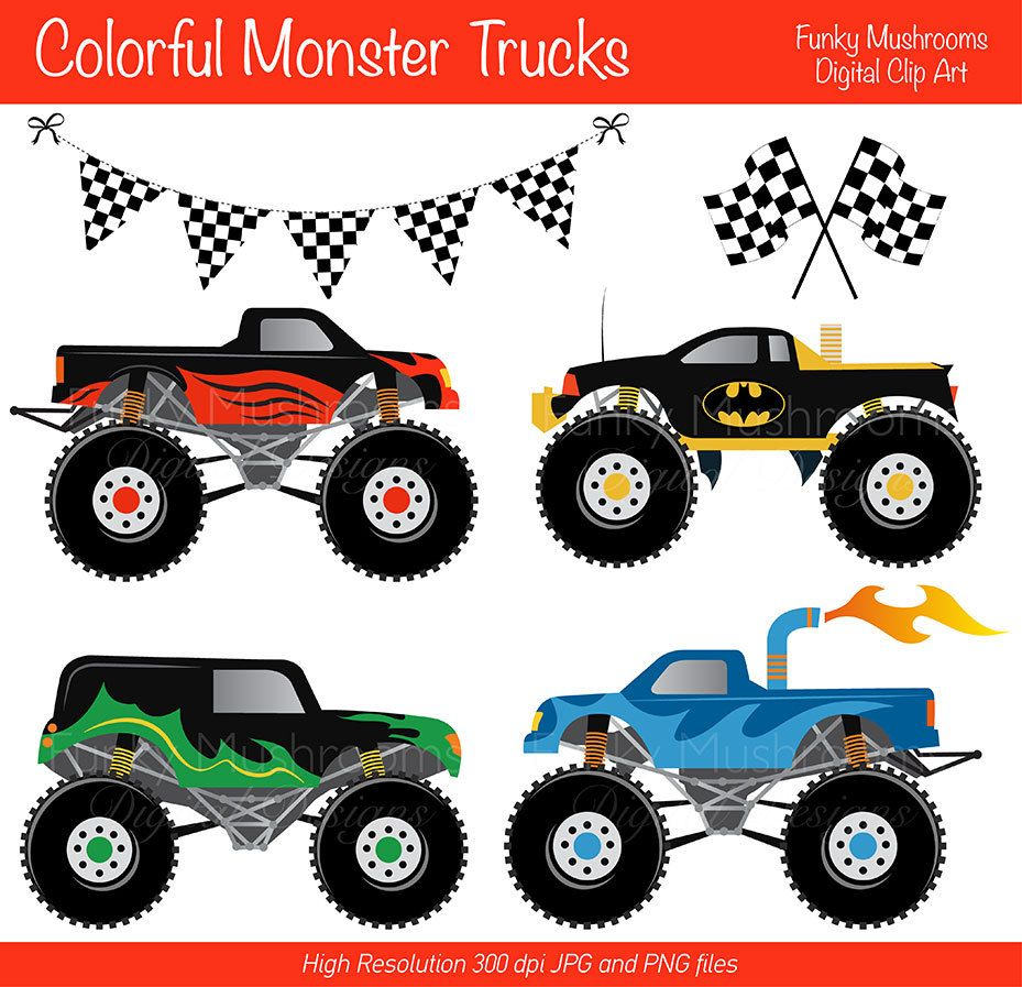 Digital Clipart Colorful Monster Trucks For Scrapbooking