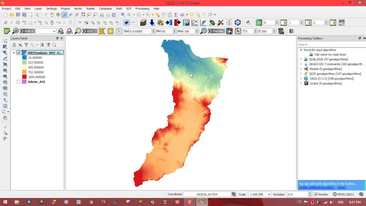 3D visualization DEM in QGIS (Case: DAS Tondano