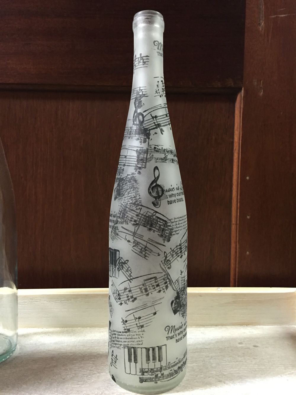 Wine Bottles Spray Painted With Krylon Frosted Glass Finish And