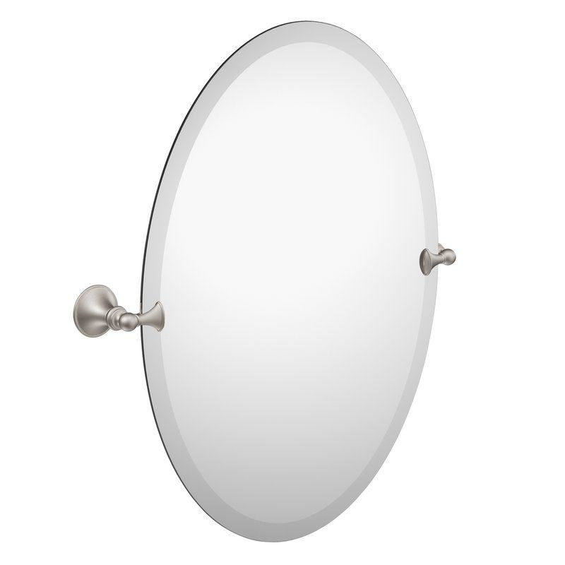 Glenshire Contemporary Beveled Frameless Vanity Mirror Oval