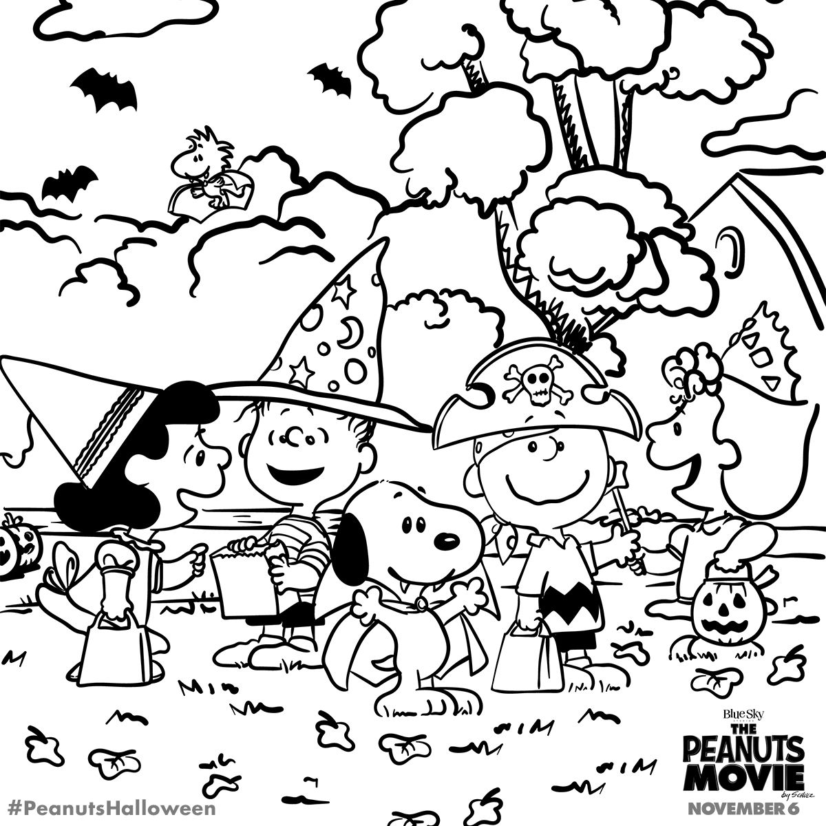 Halloween coloring page peanuts