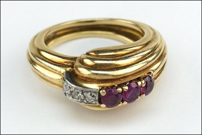 A #Retro #Ruby, #Diamond and 14 Karat Yellow Gold #Ring: Lot 7010 #yellowgold
