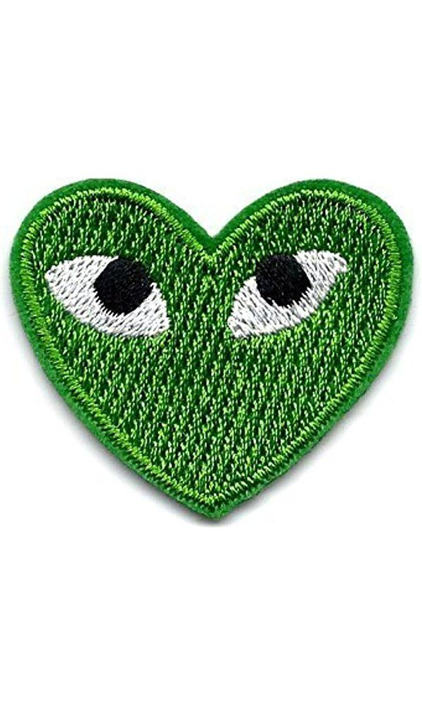 """PLAY"" COMME des GARCONS Green Heart Eyes Embroidered Iron On / Sew On Patch Best Price"
