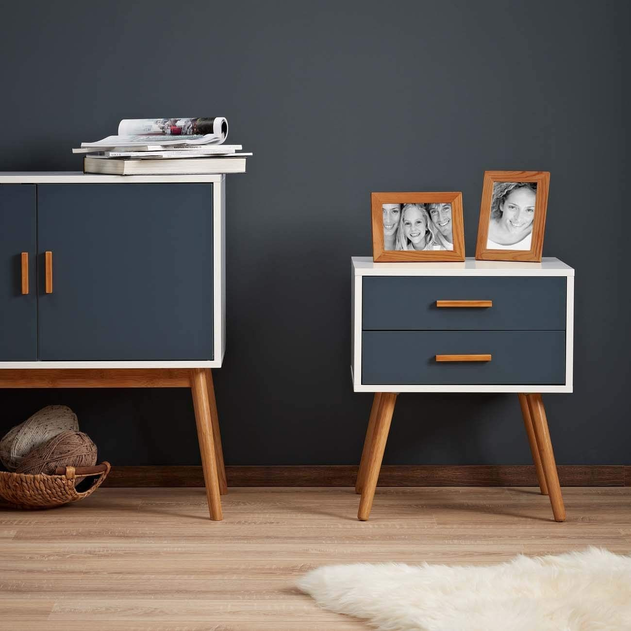 Lomos Bedside Table Odin Out Of Wood In White With Two Draws In A Modern Shade Of Grey Amazon Co Uk Kitche Upcycled Furniture Furniture Makeover Furniture