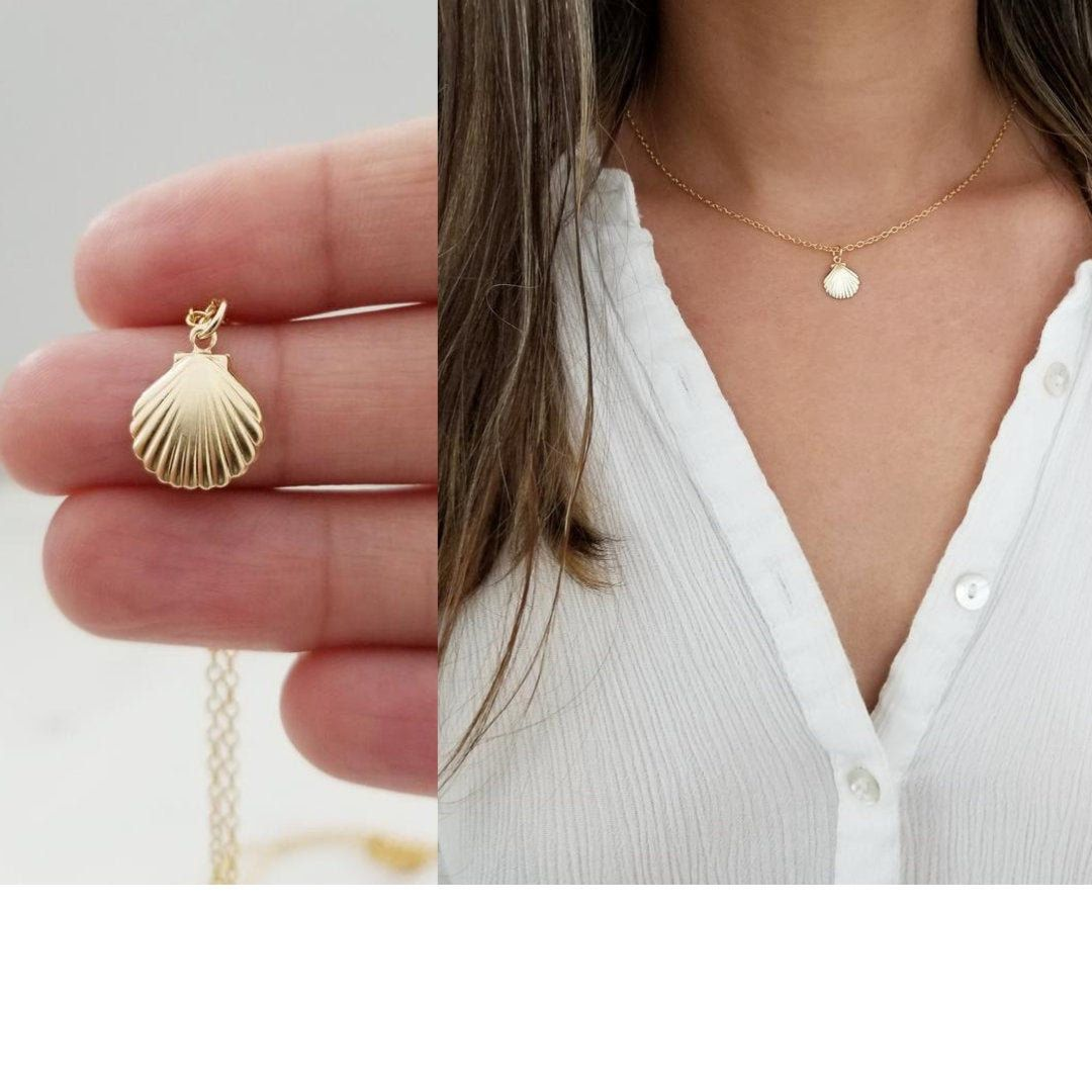 Personalized Necklace Shell Charm Necklace Birthstone Necklace Beach Necklace Initial Necklace Custom Necklace Shell Necklace