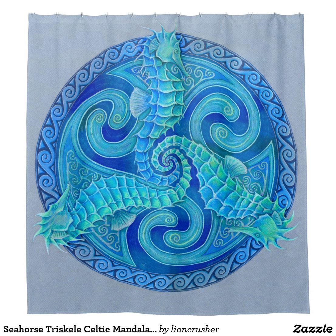 Seahorse triskele celtic mandala shower curtain home decor