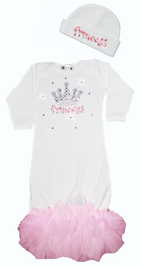 fd18d178999 Royal Princess Newborn Infant Gown with Matching Hat-bling