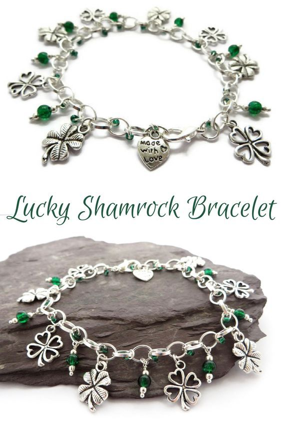 Emerald green shamrock bracelet - St Patrick's day jewellery - Handmade gift for her: