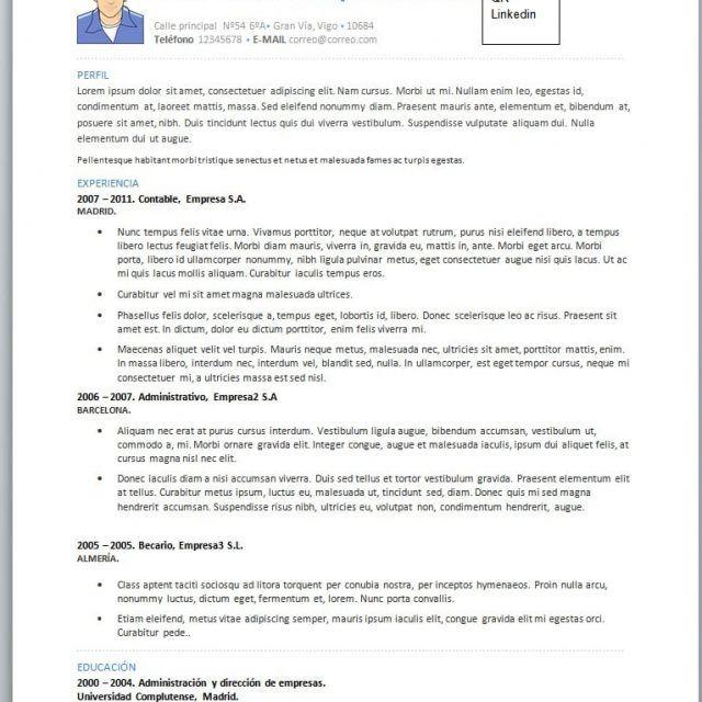 Modelos De Curriculum Vitae En Word Para Completar (con