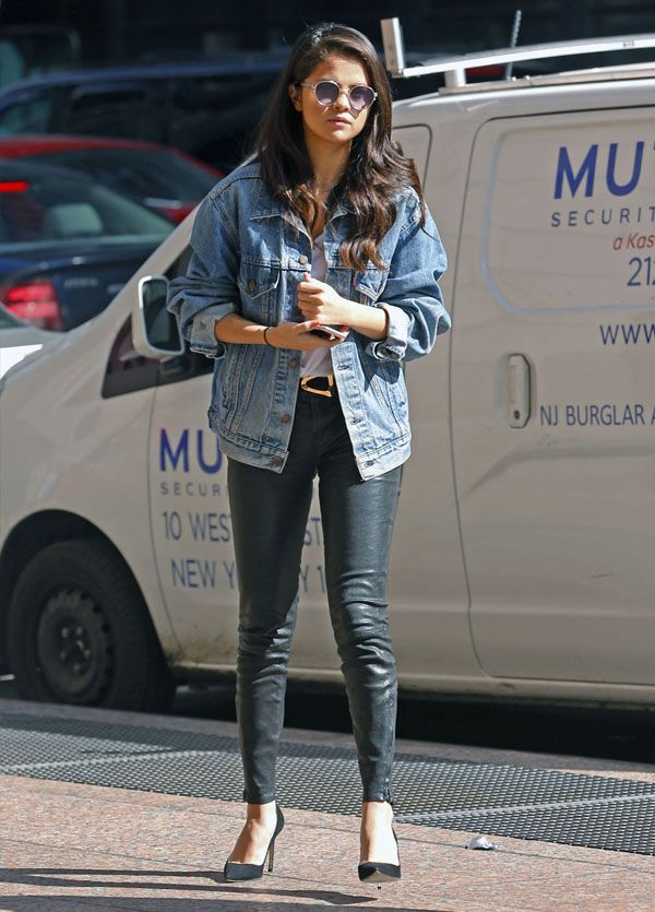 e2a735793d7 selena-gomez-style-leather-pants-denim-jacket-sunglasses