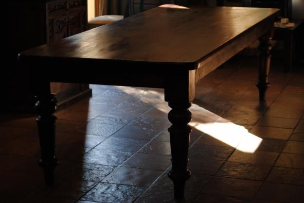 Large Dark Solid Wood Antique Farmhouse Table Antique Farmhouse