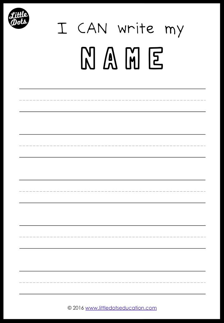 Free printable to practice writing your names for preschool, pre-k ...