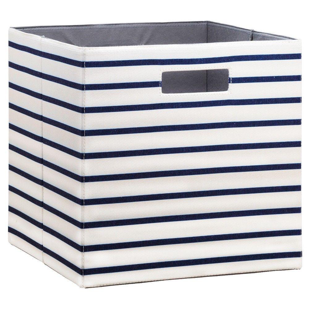 Fabric Cube Storage Bin 13   White Navy Stripe   Threshold