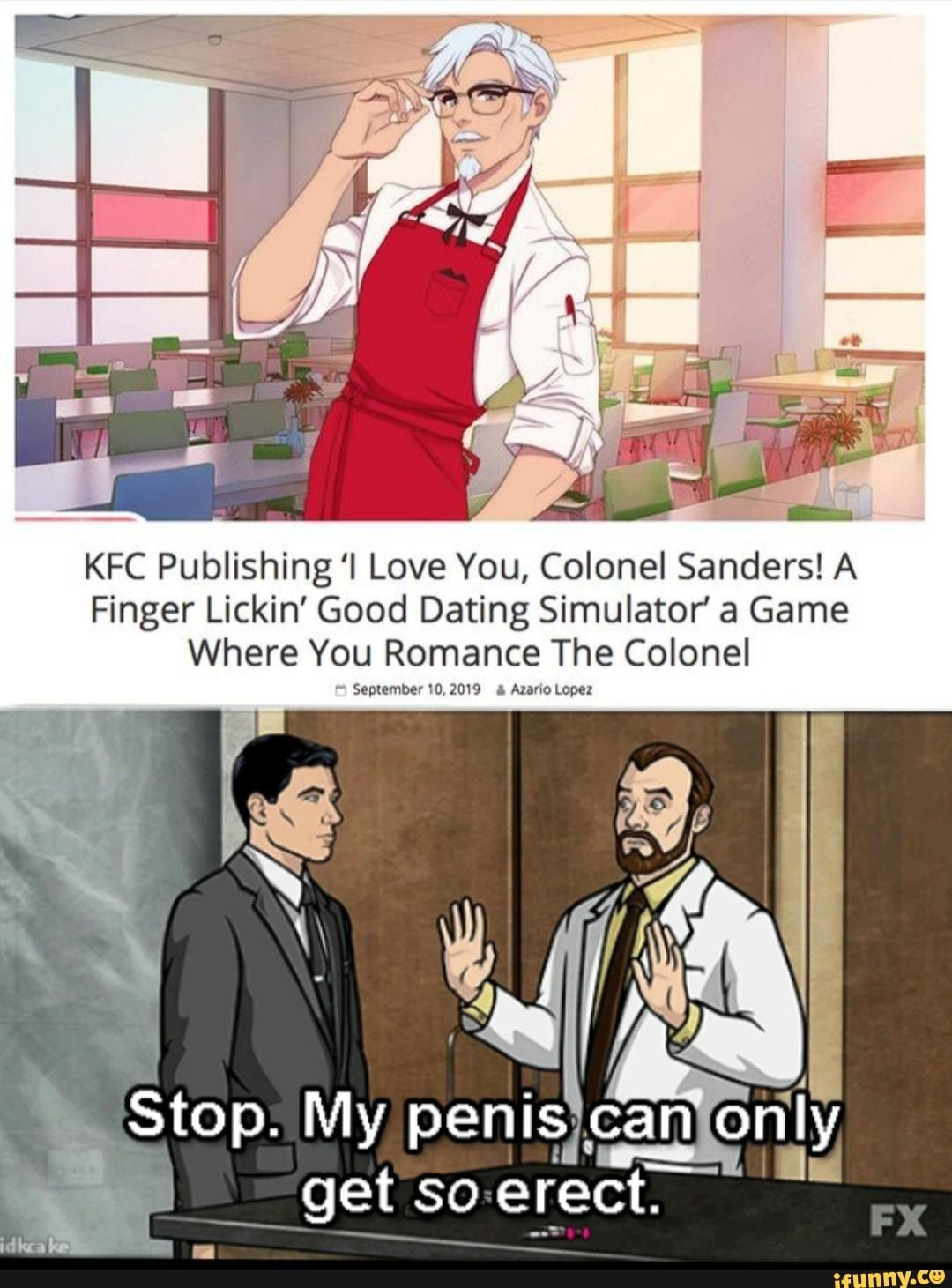 Kfc Publishing I Love You Colonel Sanders A Finger Lickin Good Dating Simulator A Game Where You Romance The Colonel September 0 20 Alano Lopez Ifu Colonel Sanders Memes Popular Memes