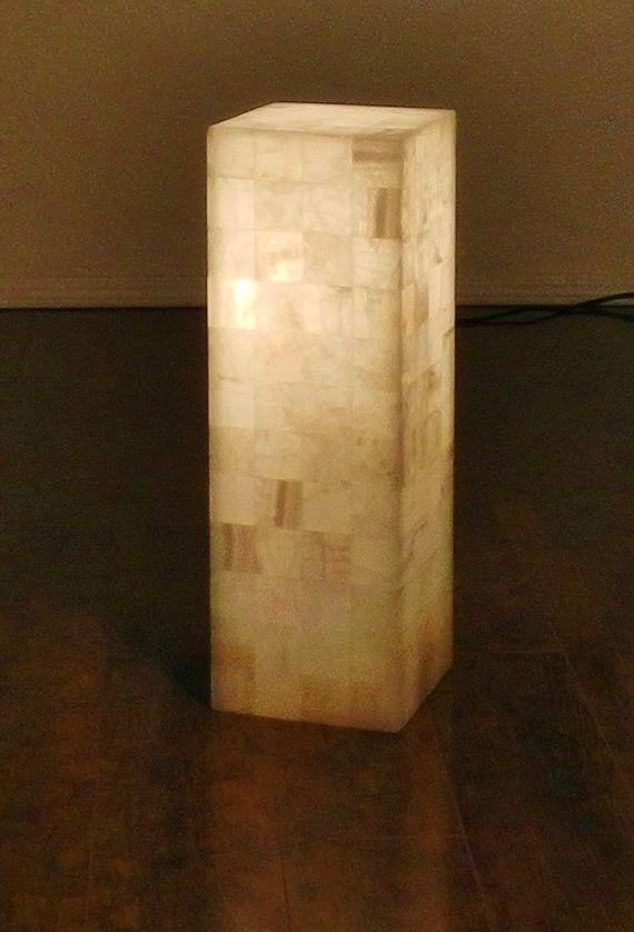 floor lamp stone onyx alabaster marble white squared pillar tower