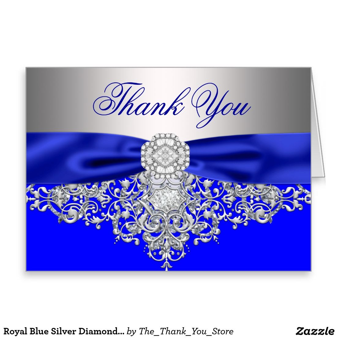 Ypus Silver Wedding Thank: Royal Blue Silver Diamond Thank You