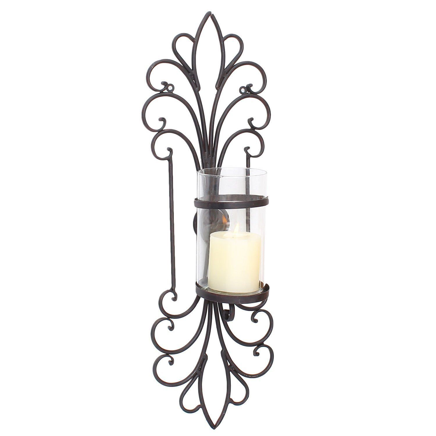 Decorative Iron Pillar Candle Sconce With Glass (1 Only