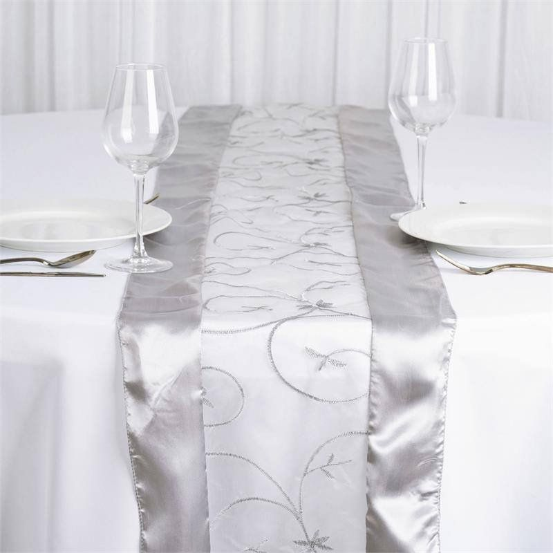 Silver Embroidered Table Runner Add A Dash Of Elegant Sophistication Into Your Wedding And Banquet Tables With These Delicately Fashioned See Thru Organza