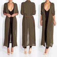 Parka Outwear Coat Women Long Sleeve Cardigan Jacket Windbreaker | Wish 17