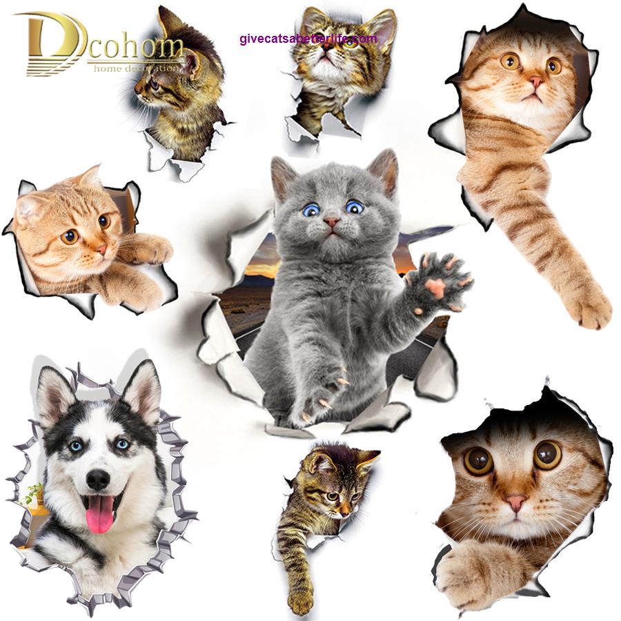 Hole View Cat 3d Wall Sticker Wall Sticker Wall Decal Sticker Cats