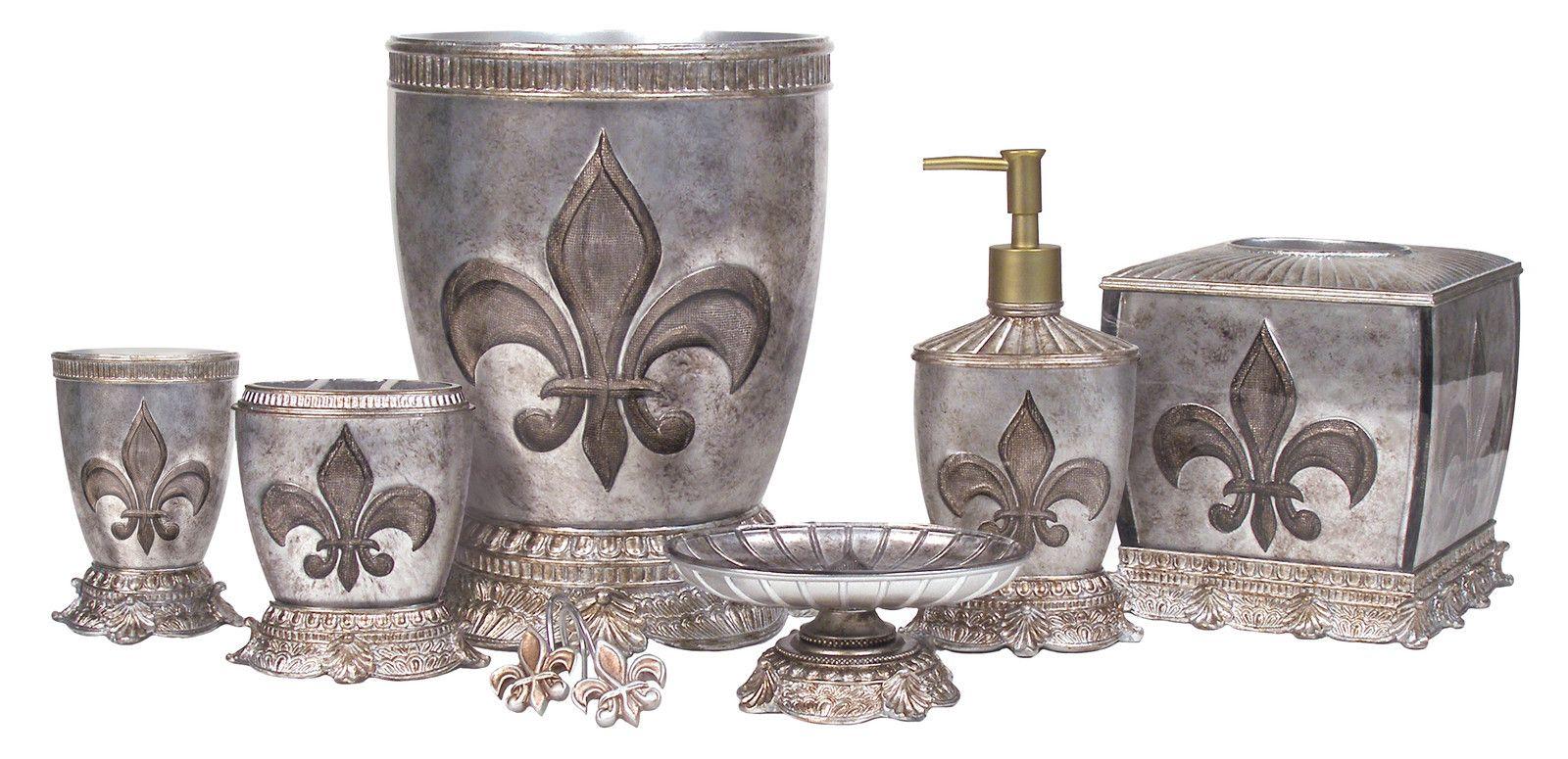 French Flair Luxe Fleur de Lis Bath Accessories Bathroom ...