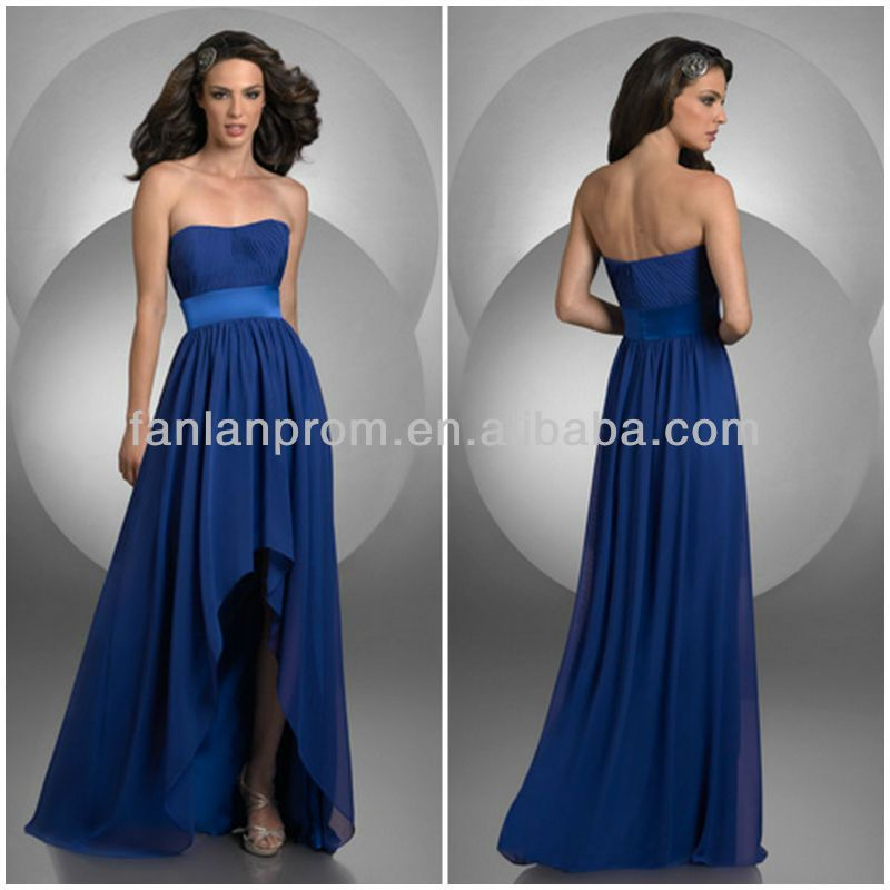 Royal blue strapless chiffon high low prom dresses cheap for Royal blue short wedding dresses