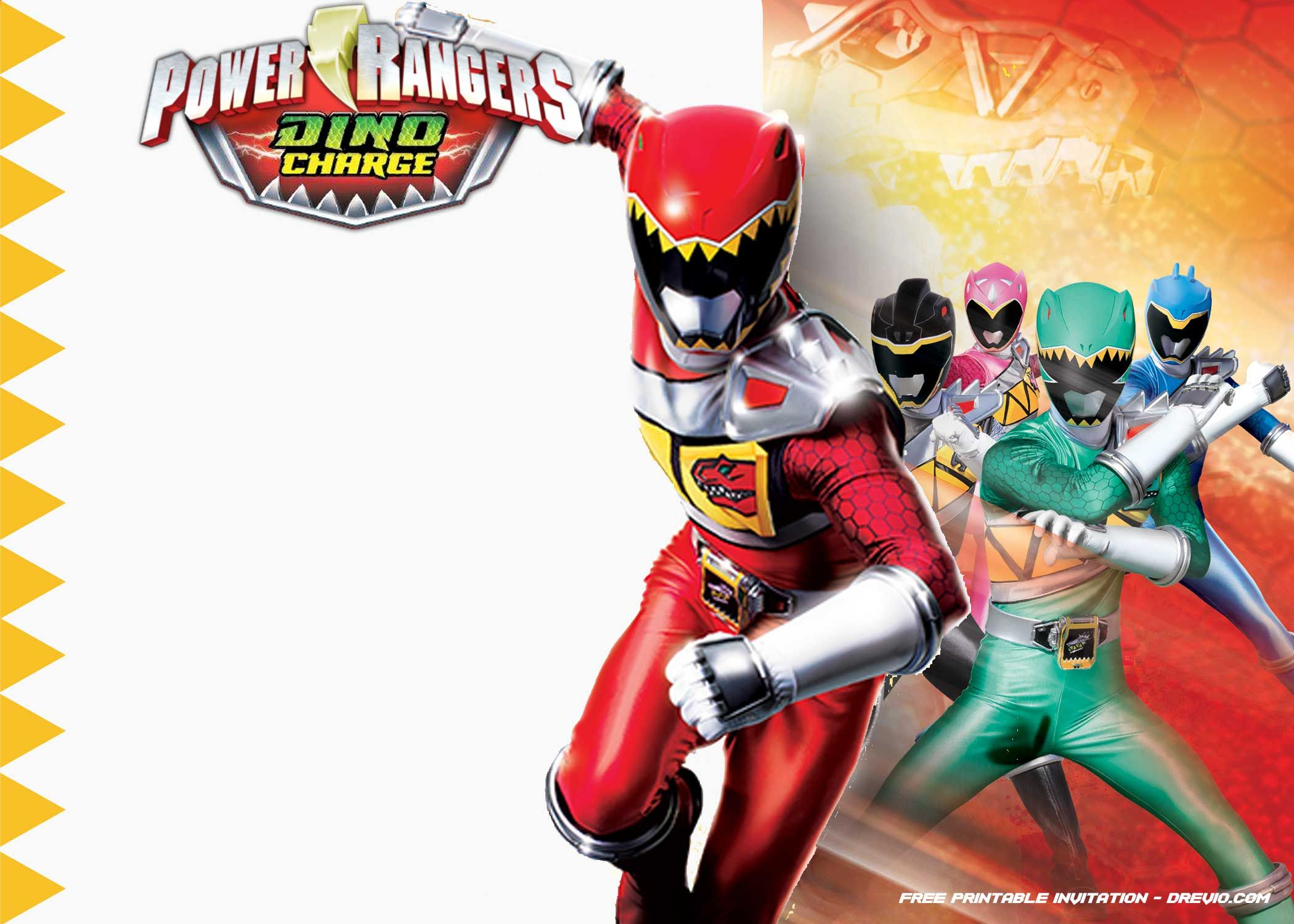 FREE Printable Power Rangers Dino Charge Invitation Template