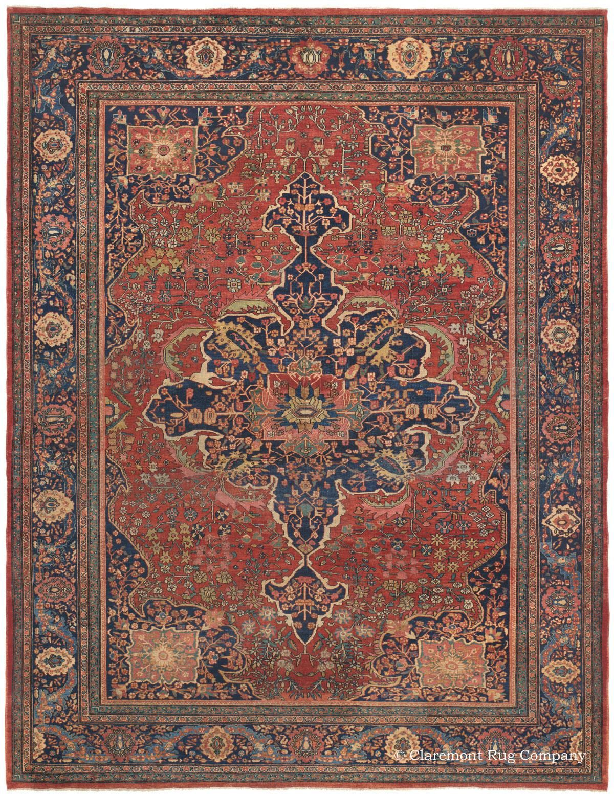 Etched Ferahan Sarouk Antique Oriental Carpet Rugs Antique Rugs Claremont Rug Company