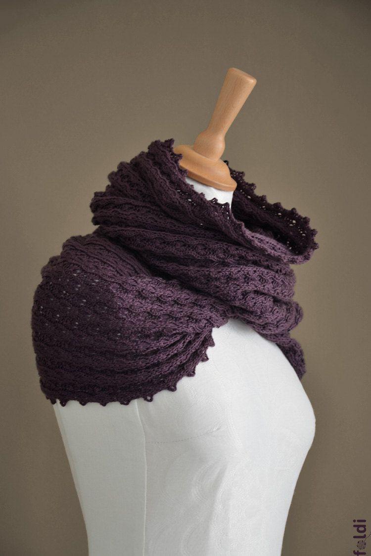 Knitted merino wool möbius scarf, cowl, snood, wrap in dark plum, e ...