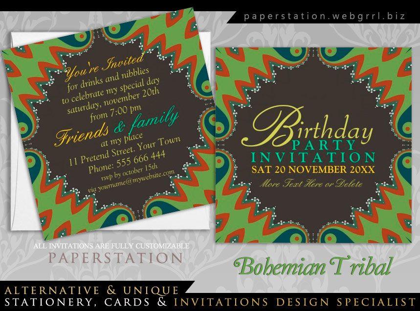 Bohemian Tribal Birthday Party Invitations | Invitations & Cards ...