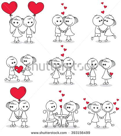 collection set of cute couple doodle with hearts - buy this vector on Shutterstock & find other images.