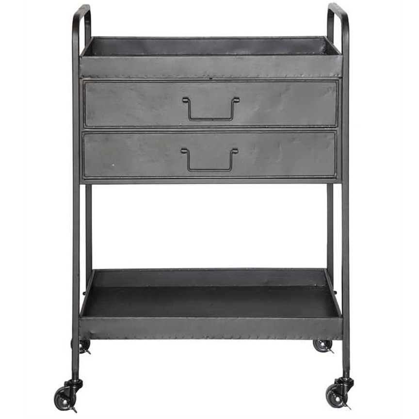 Rimmed but open top and bottom shelves with two drawers
