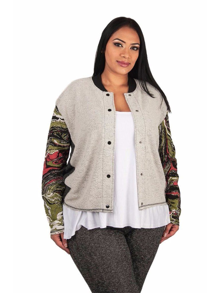 Dare to be bold with the marble print french terry baseball jacket from Poetic Justice.Features: Marble print long sleeves with black snap fastening closure Lightweight jacket Fits close to body with hemline falling at top of hips Size Note: Please see Poetic Justice size chart for your perfect sizeBest for Body Shape(s): Rectangle, StrawberryMaterial Content: 60% Cotton, 40% PolyesterCare Instructions: Machine wash cold on gentle cycle. Tumble dry low.Country of Origin: China