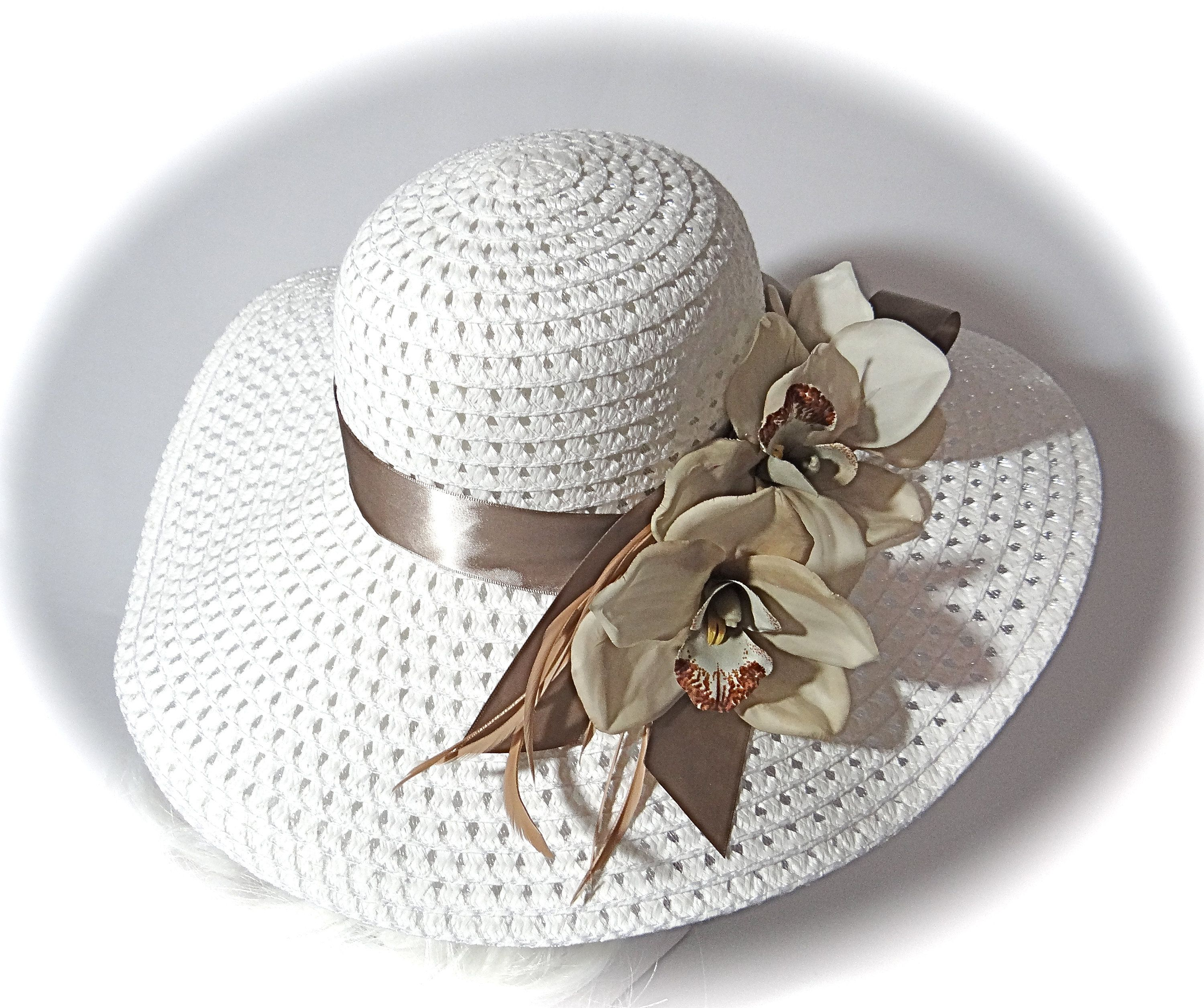 0fcc4632cfb45 Kentucky Derby Hat Taupe   White Sun Hat Women s Hats DH-107