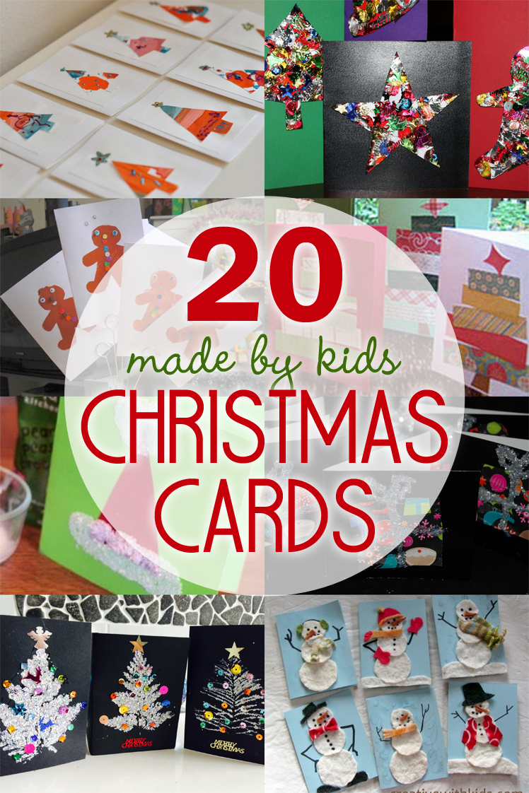 20 Homemade Christmas Cards Made by the Kids Christmas