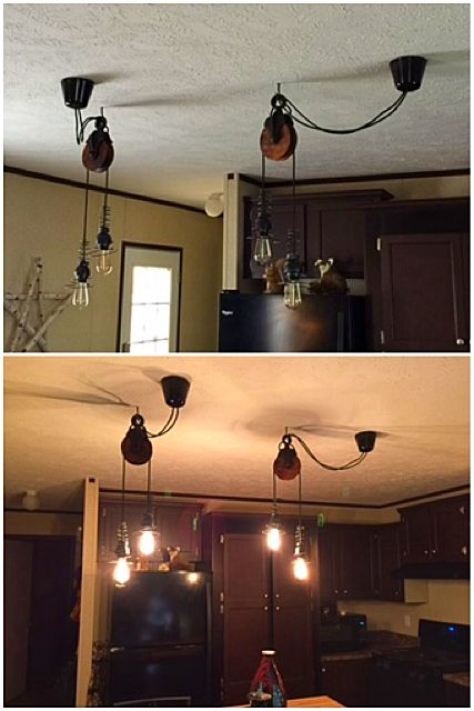 Barn Pulley Lights Diy With Edison Bulbs And Bed Springs Ikea Hack Pendant Light Fixture Bedroom Decor Lights Bedroom Light Fixtures Diy Light Fixtures