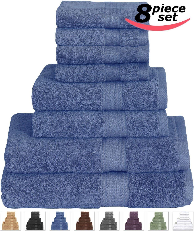 Amazon Com Cotton Bath Towel Set Electric Blue 8 Piece