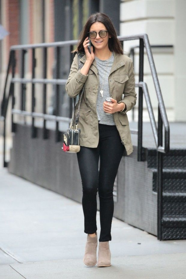 Nina Dobrev Casual Winter Style Images Galleries With A Bite
