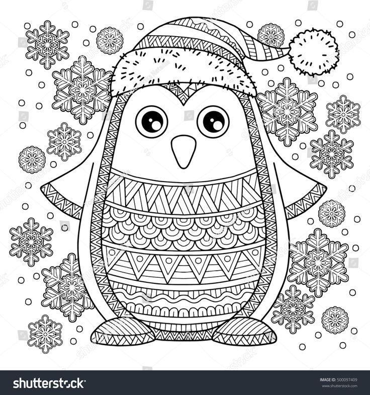 Merry Christmas Jolly Penguin The detailed coloring pages for - new christmas coloring pages penguins