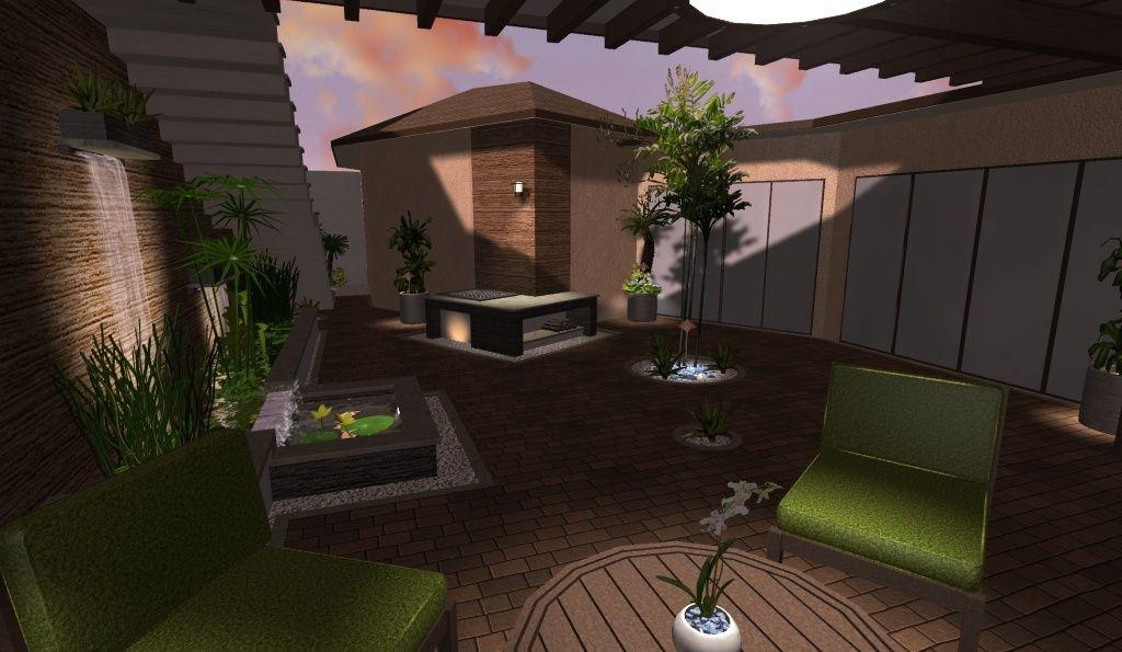 modelo de patio con jardín acuatico, estanque, fuente de pared, 2 - cascada de pared