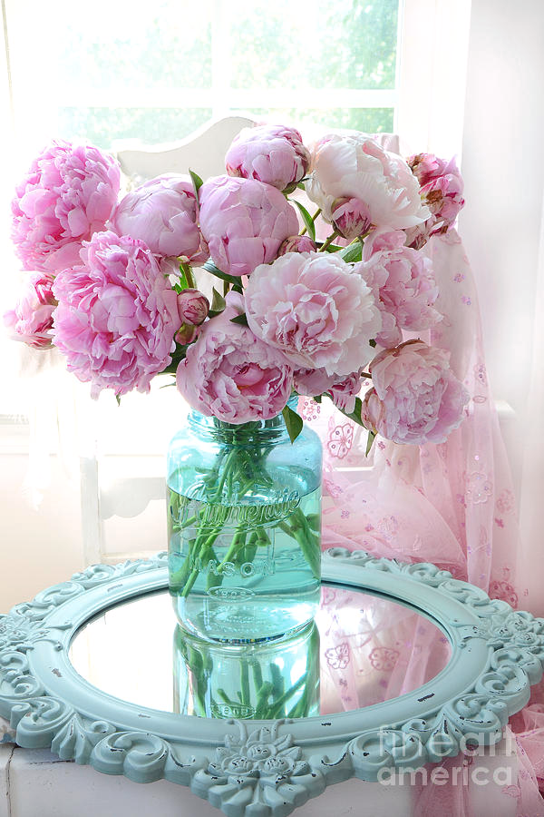 Photo of Shabby Chic Pink Peonies In Aqua Vase – Romantic Cottage Peonies Pink And Aqua Decor Wall Art Prints by Kathy Fornal
