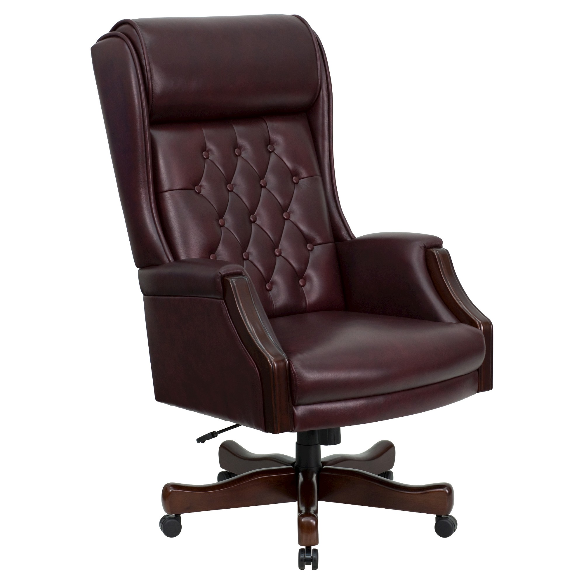 Executive swivel office chair burgundy red leather flash furniture