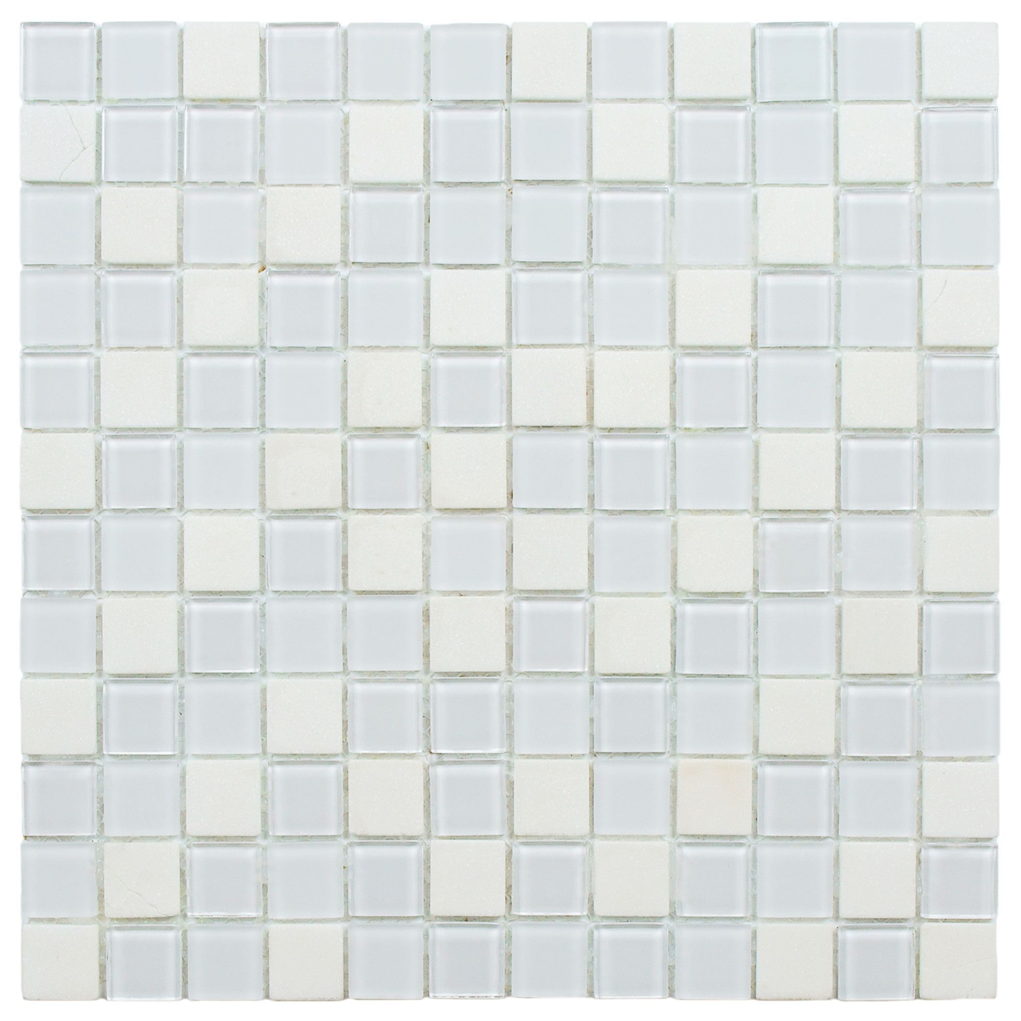 "Chroma 0 88"" x 0 88"" Glass and Natural Stone Mosaic Tile in White"
