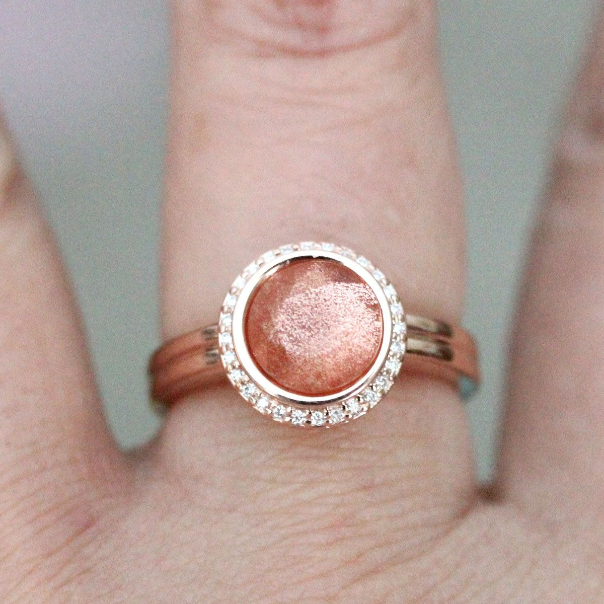 Oregon Sunstone 14K Rose Gold Ring, Diamond Ring, Engagement Ring ...