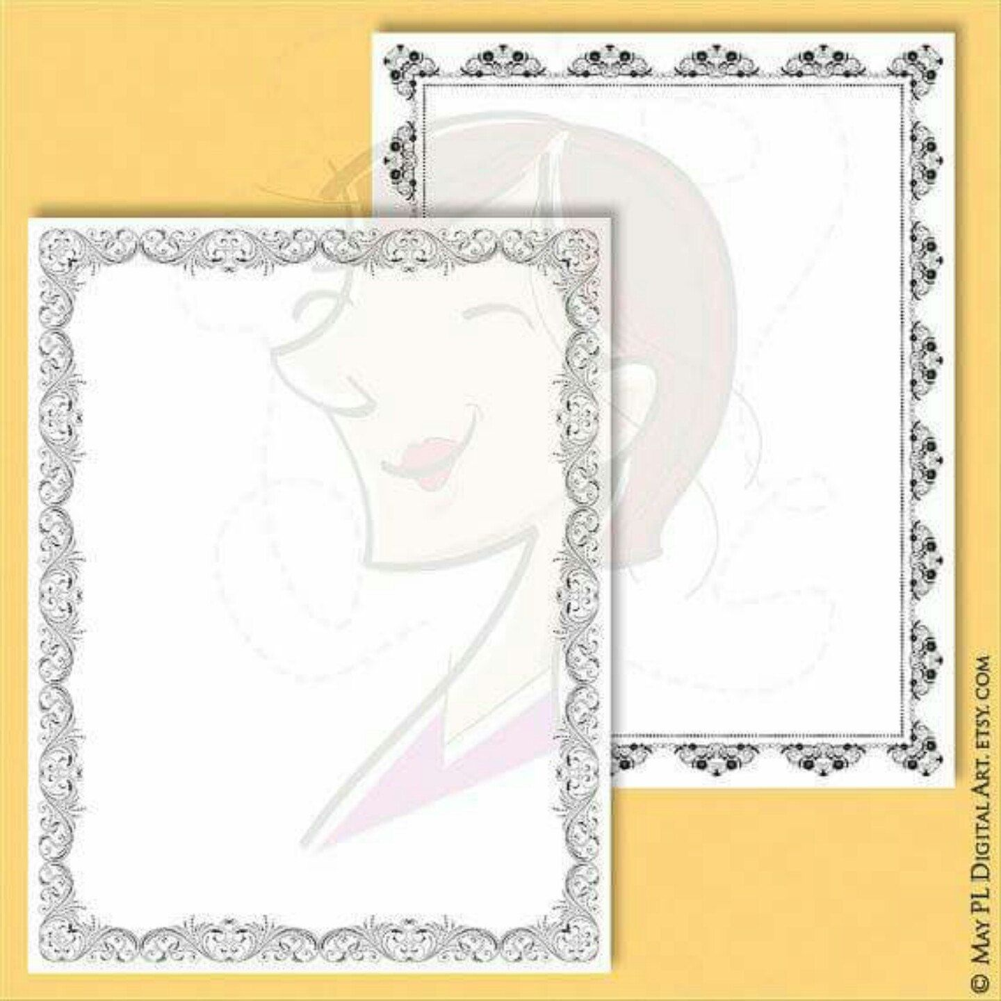 Page Borders Clipart - Flourish Design 8 x 11 size perfect for DIY ...