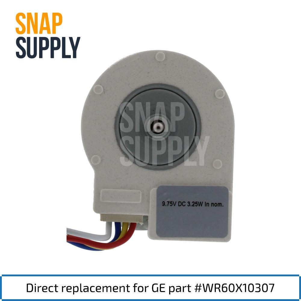 This Evaporator Motor is a direct replacement for GE part #WR60X10307.  Includes the Wiring