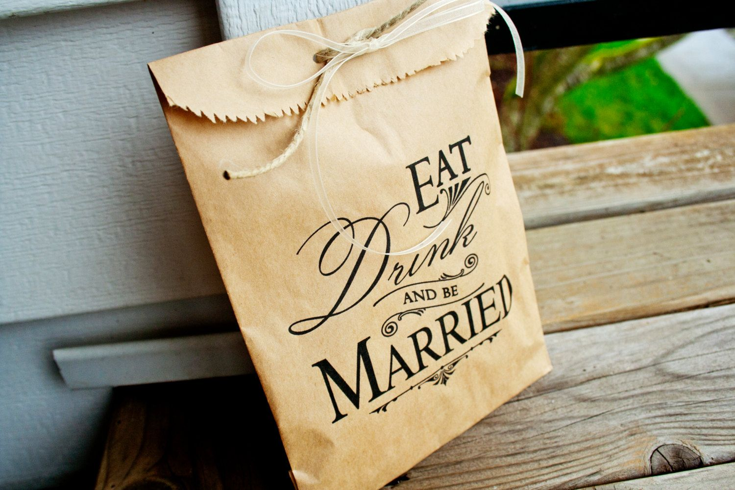 Wedding Favor Bag Kraft Paper Bags Candy Buffet Table Eat Drink And Be Married Style 25